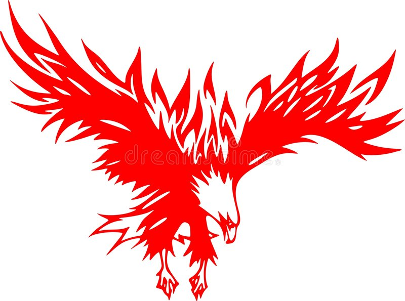 Águia de Atacking nas flamas 2 ilustração do vetor