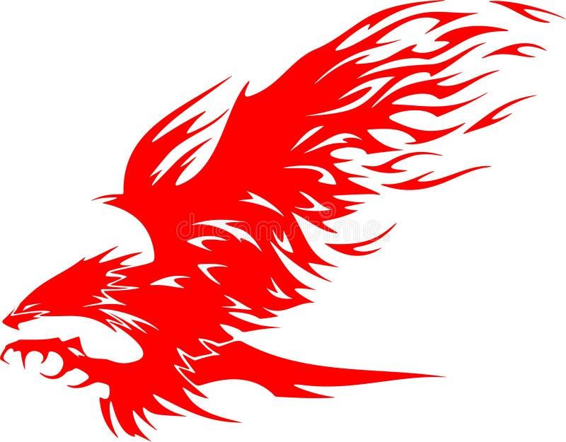 Águia de Atacking nas flamas 5 ilustração do vetor