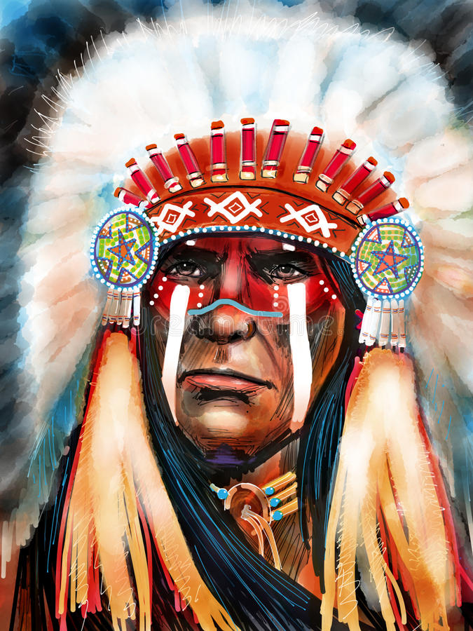 Águia do branco do nativo americano ilustração stock
