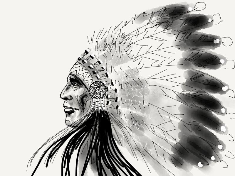 Águia do branco do nativo americano ilustração do vetor