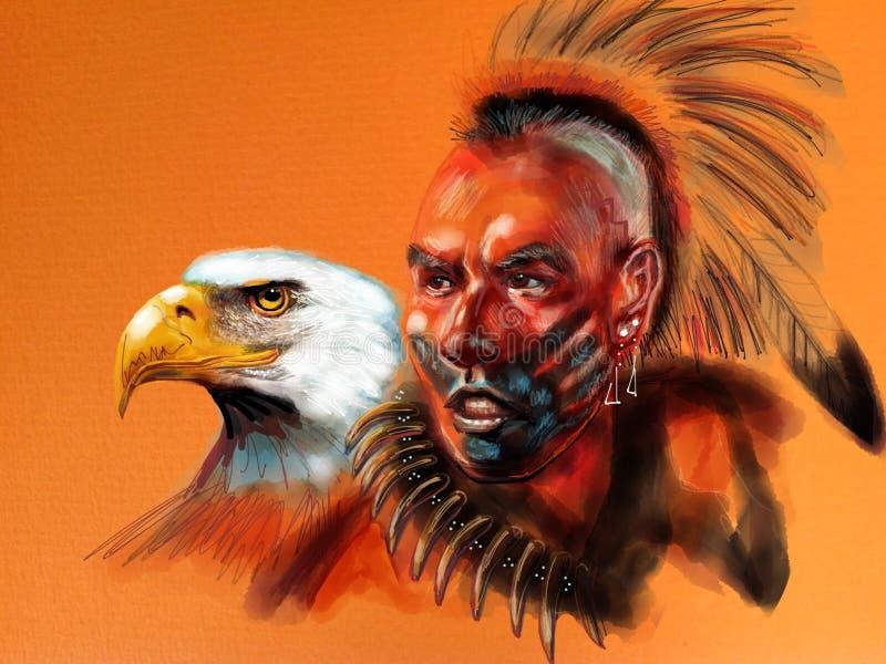 Águia do branco do nativo americano imagem de stock
