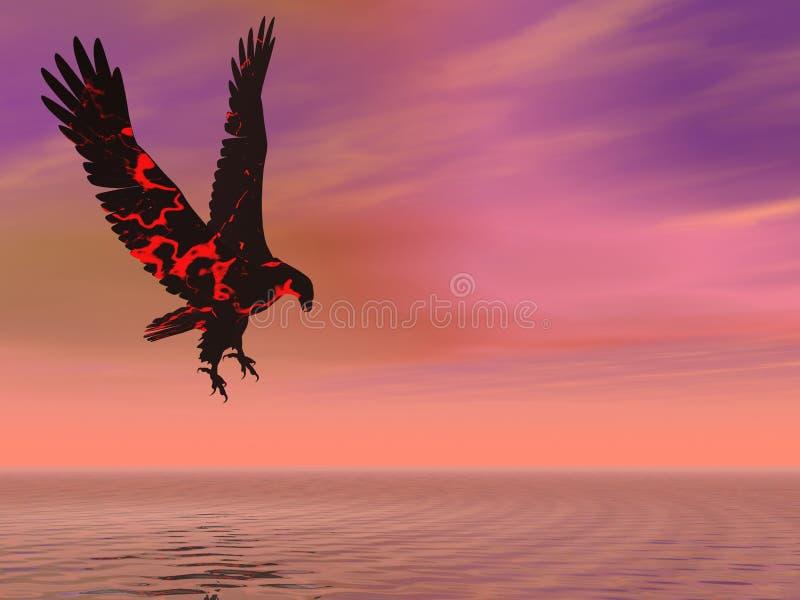 Águia do incêndio que paira ilustração do vetor