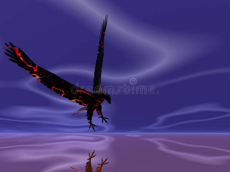 Águia do incêndio surreal ilustração do vetor