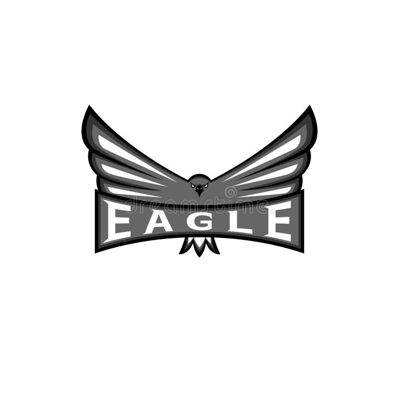 A águia do logotipo espalhou as asas, emblema da mascote do esporte do falcão, elemento predador do projeto da cópia do t-shirt d ilustração royalty free