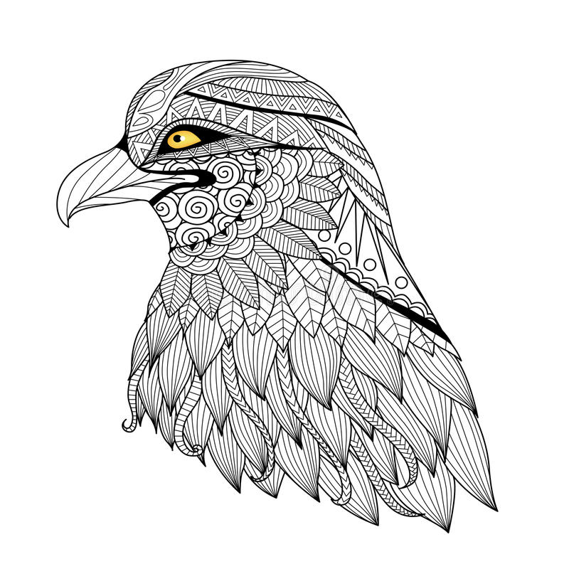 Águia do zentangle do detalhe ilustração do vetor