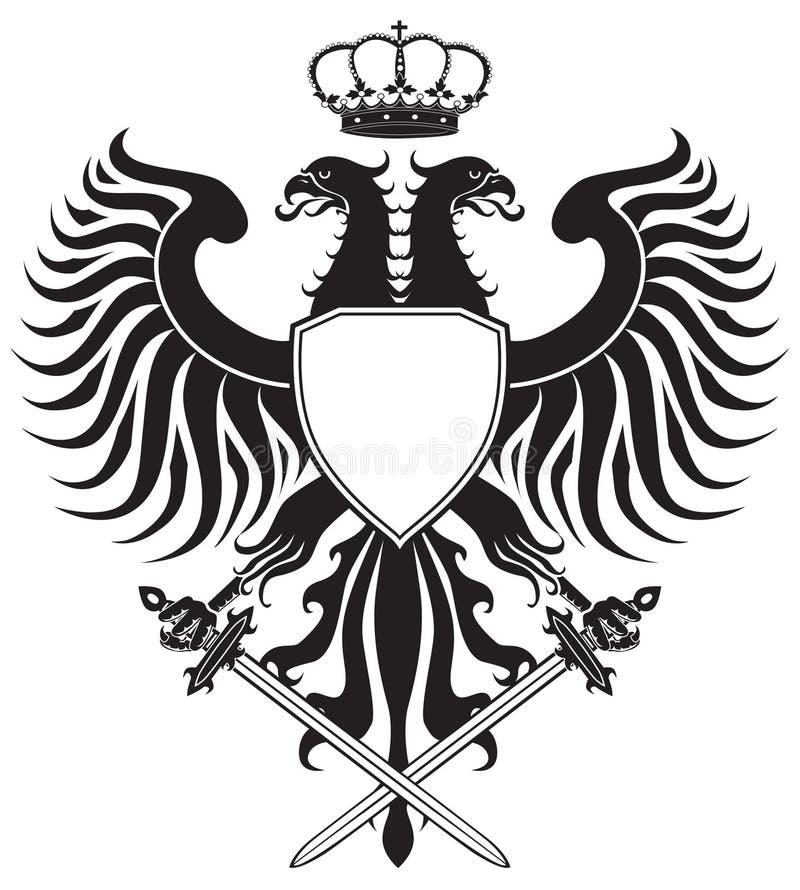 águia Dobro-dirigida com coroa e espadas ilustração stock