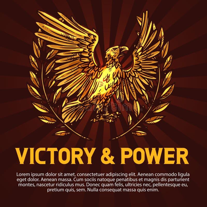 Águia dourada, símbolo da vitória e poder ilustração do vetor