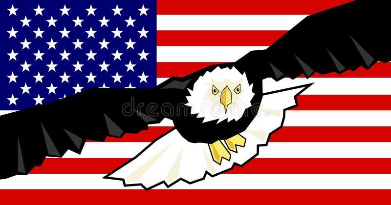 Águia e bandeira ilustração royalty free