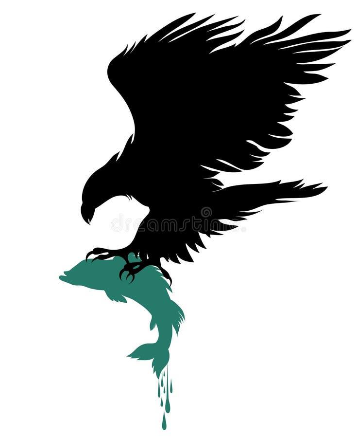 Águia e um peixe ilustração royalty free