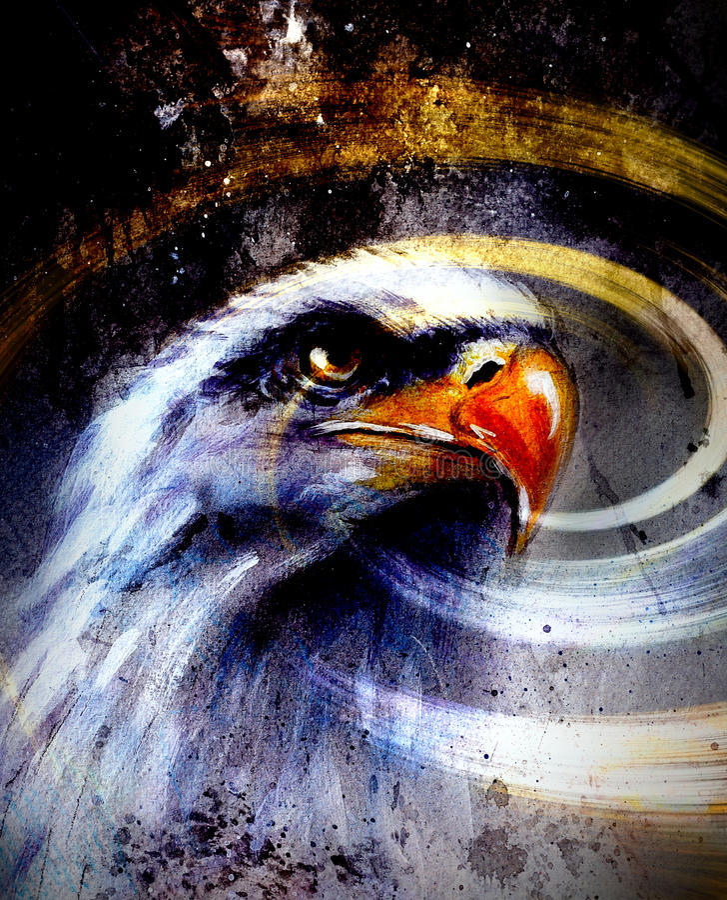 Águia em um fundo abstrato, liberdade da pintura dos símbolos dos EUA ilustração do vetor