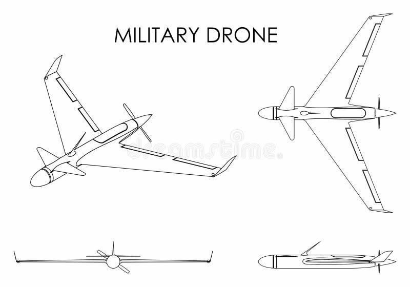 Águia militar do zangão Esboço somente ilustração stock