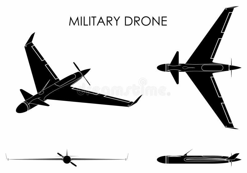 Águia militar do zangão Suficiência preta ilustração do vetor