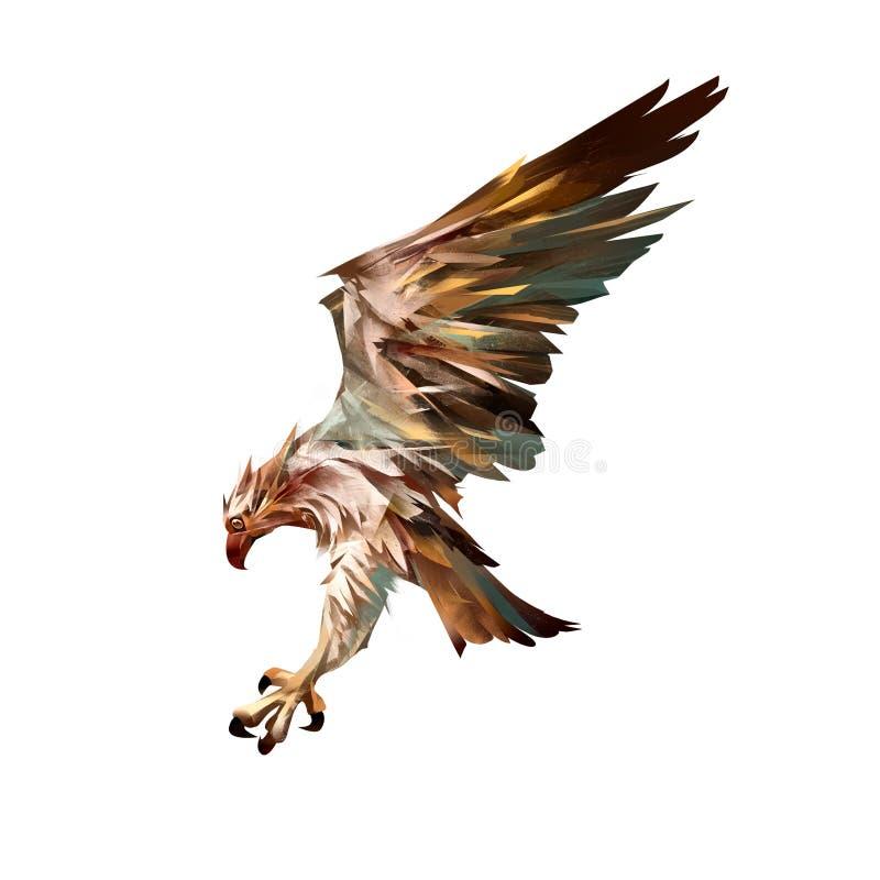 Águia pescadora de ataque isolada tirada ilustração royalty free