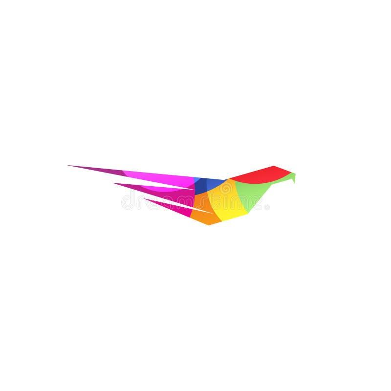 Águia violeta abstrata isolada da cor, falcão do logotipo da silhueta do falcão Logotype perigoso do pássaro da caça Voa o ícone  ilustração royalty free