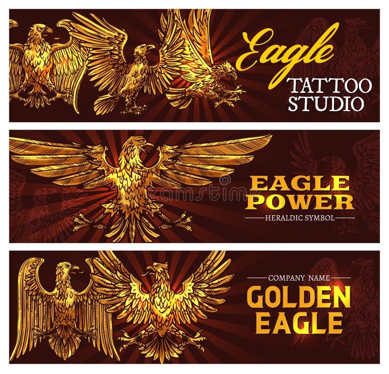 Águias heráldicas douradas, vetor do símbolo do poder ilustração do vetor