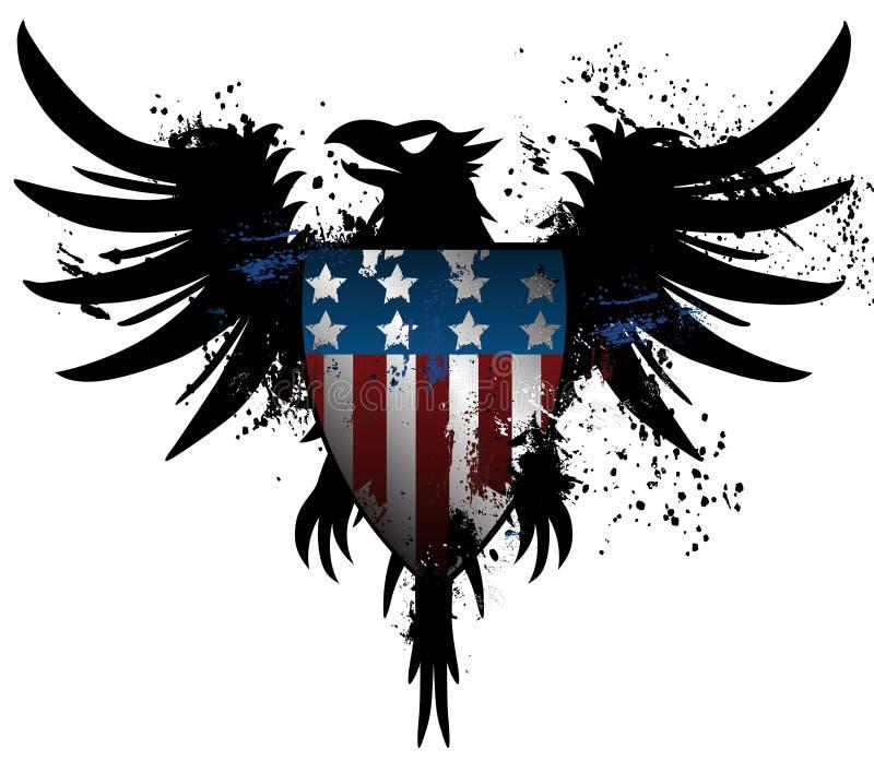 Águila americana del grunge ilustración del vector