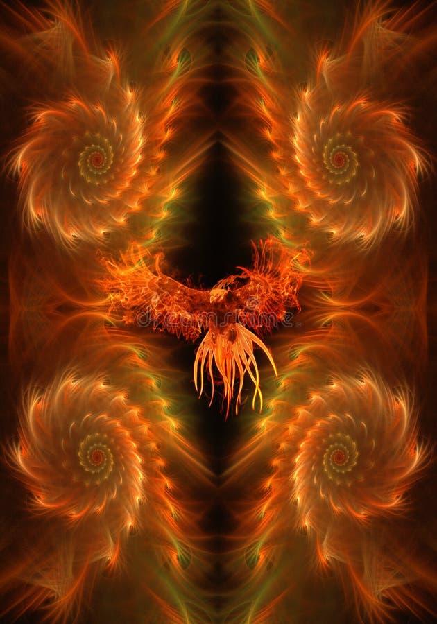 Águila ardiente artística del extracto en un fondo ardiente único del fractal stock de ilustración