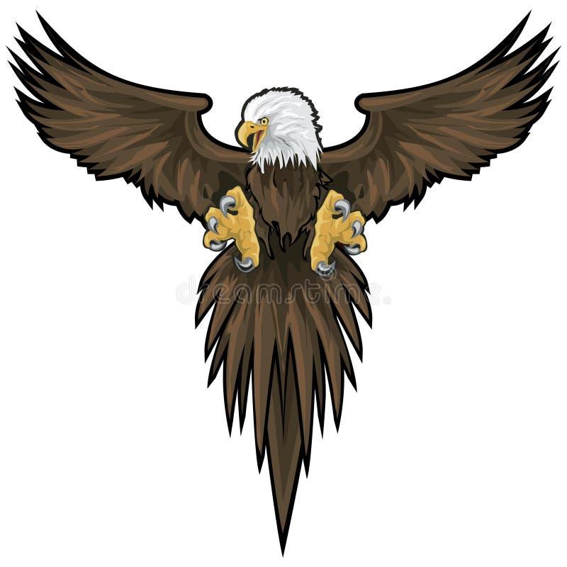 Águila calva con el camino de recortes ilustración del vector