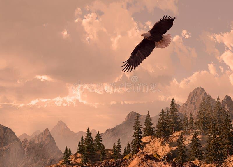 Águila calva que se eleva en el alto país stock de ilustración