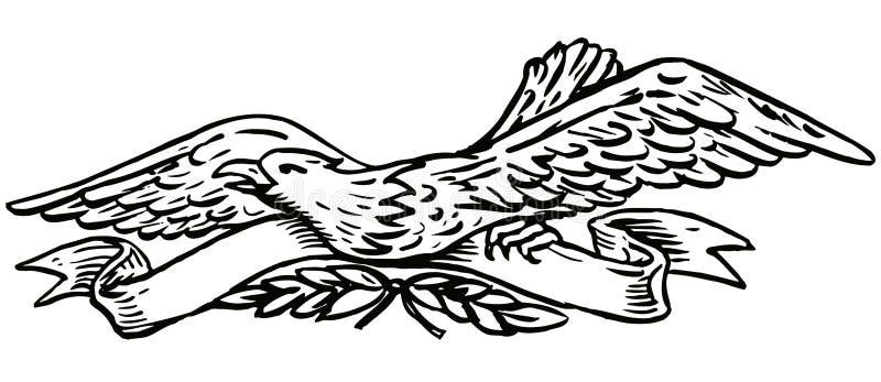 Águila con el desfile stock de ilustración