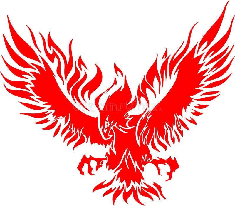 Águila de Atacking en las llamas 3 stock de ilustración