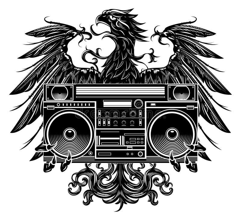 Águila del estilo de la heráldica que lleva a cabo un boombox stock de ilustración
