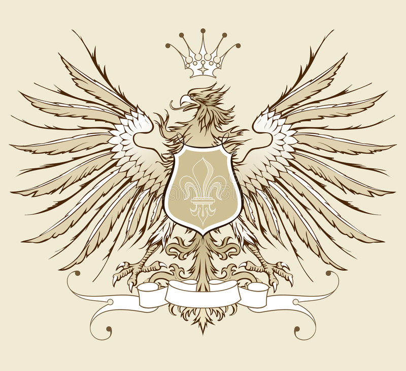 Águila heráldica de la vendimia stock de ilustración