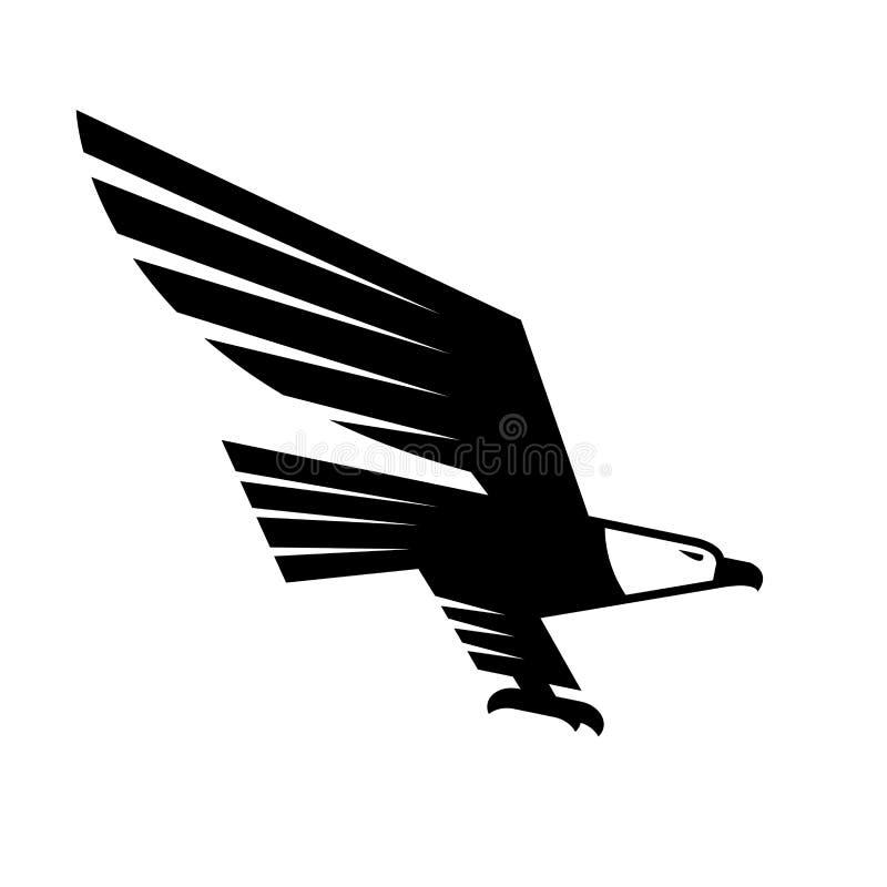 Águila negra del vuelo con el icono heráldico separado de las alas stock de ilustración