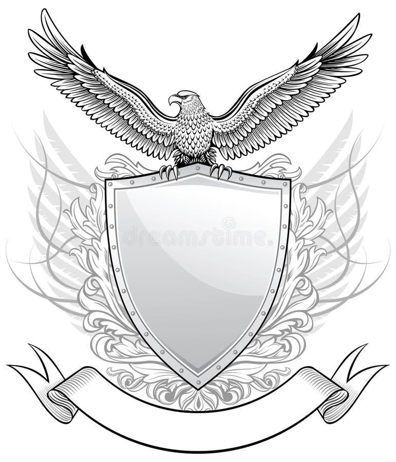Águila sobre el blindaje stock de ilustración