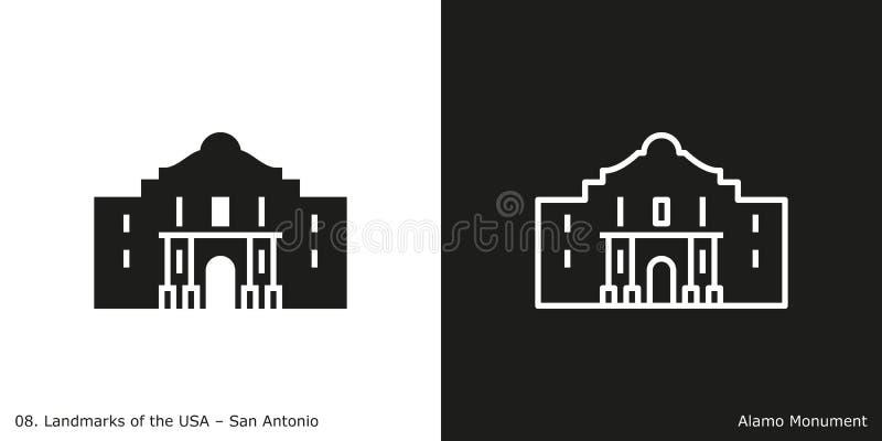 Álamo en San Antonio ilustración del vector