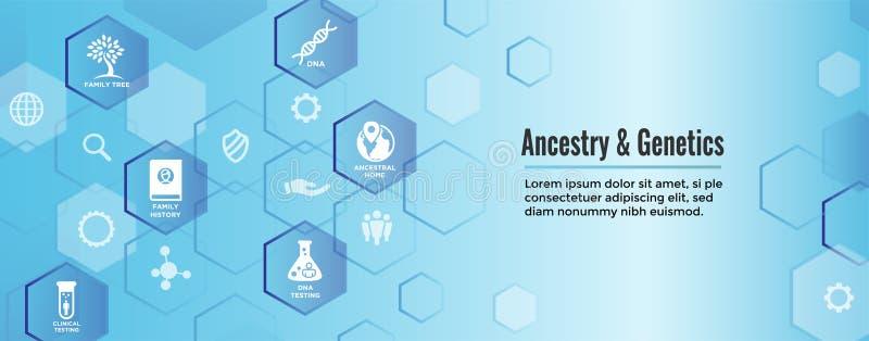 Álbum ajustado da árvore genealógica de w da bandeira da Web do ícone da ascendência ou da árvore genealógica, f ilustração do vetor