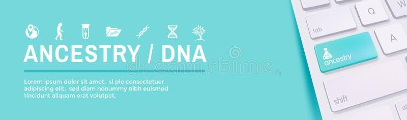 Álbum ajustado da árvore genealógica de w da bandeira da Web do ícone da ascendência ou da árvore genealógica, f ilustração stock