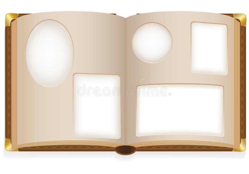 Álbum de foto aberto velho com fotos em branco ilustração do vetor