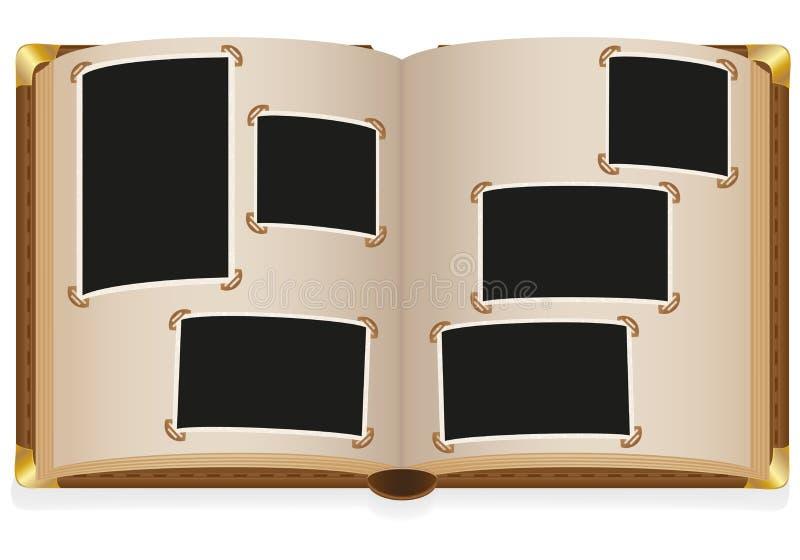 Álbum de foto abierto viejo con las fotos en blanco libre illustration