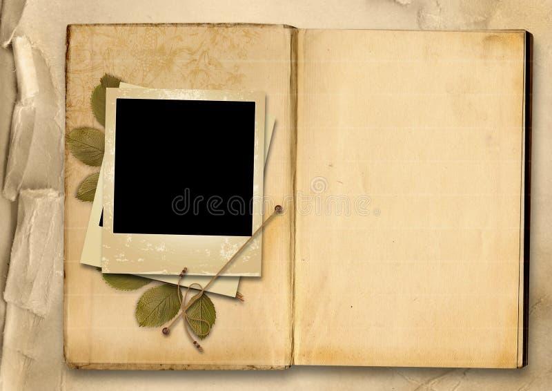 Álbum de foto del vintage con el viejo foto-marco ilustración del vector