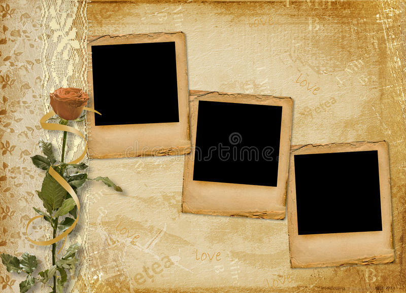 Álbum de la vendimia para la foto con la diapositiva stock de ilustración