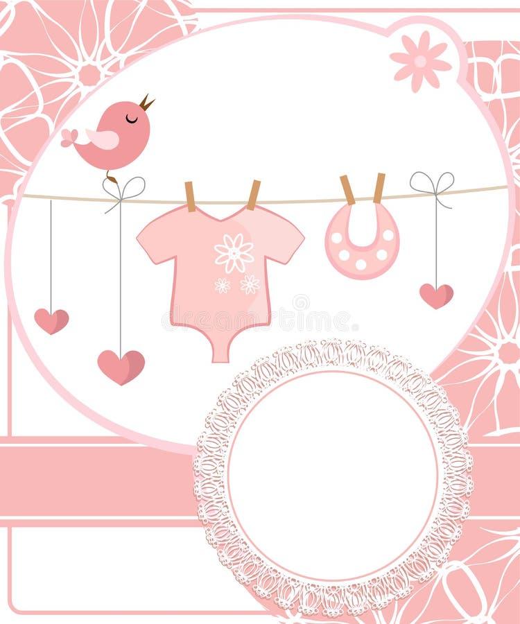 Álbum de recortes bonito para a menina com elementos do bebê. ilustração do vetor