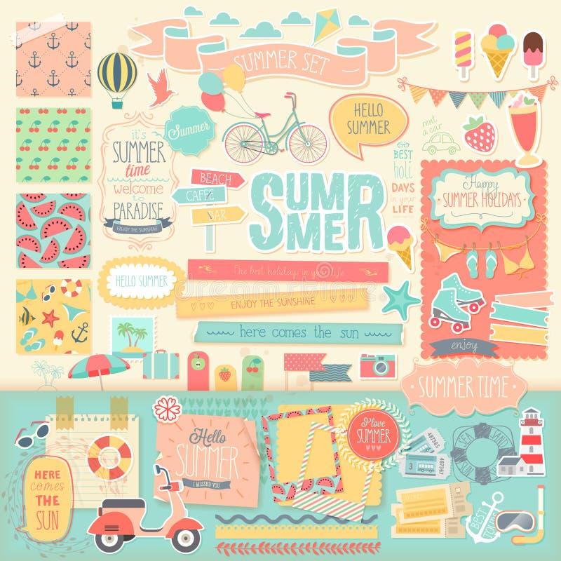Álbum de recortes do verão ajustado - elementos decorativos ilustração stock