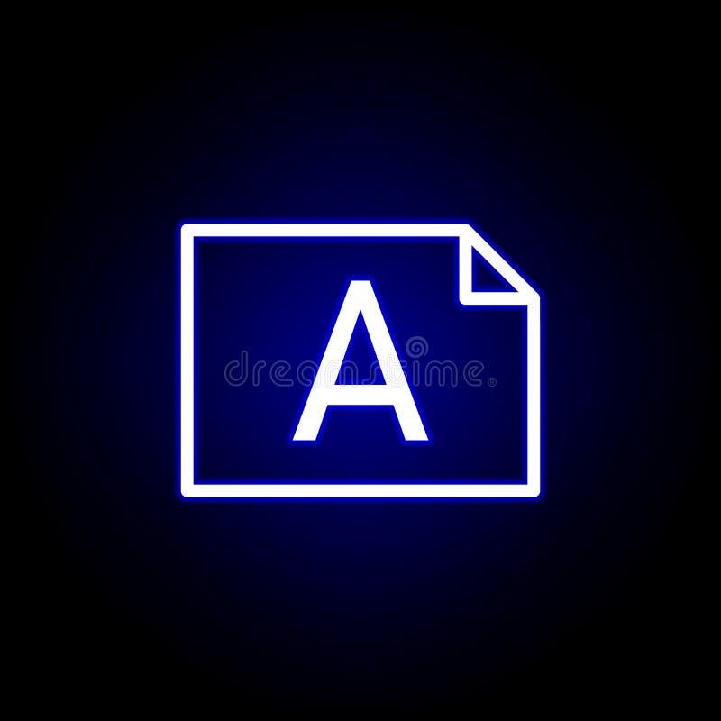 Álbum del fichero, icono de la palabra A en el estilo de neón Puede ser utilizado para la web, logotipo, app m?vil, UI, UX libre illustration