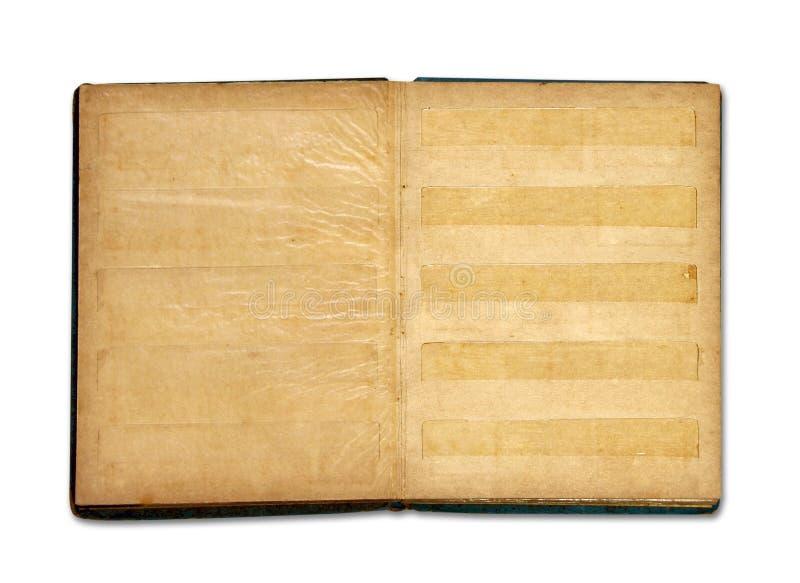Álbum em branco velho do livro de selo isolado imagem de stock