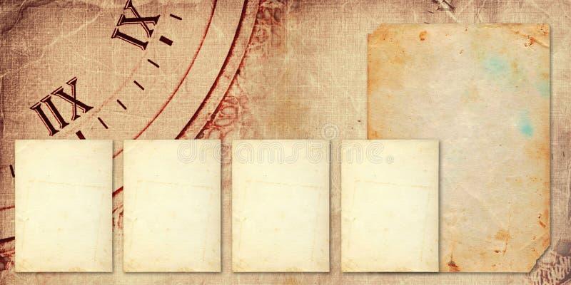 Álbum velho do vintage com cartão de papel imagens de stock