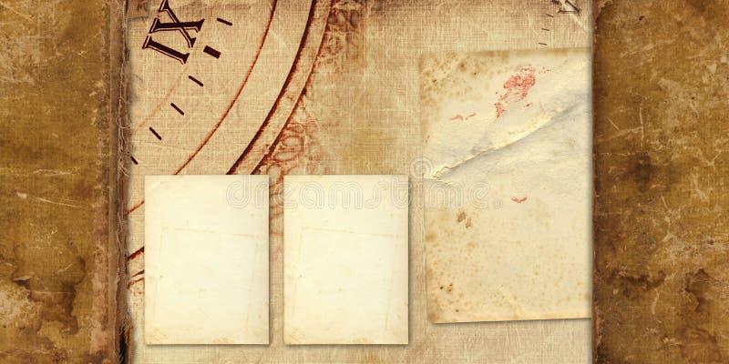 Álbum velho do vintage com cartão de papel foto de stock