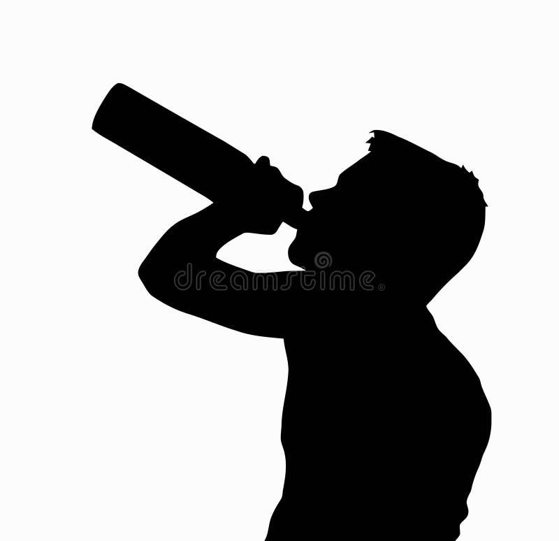 Álcool bebendo da silhueta adolescente do menino da garrafa ilustração royalty free