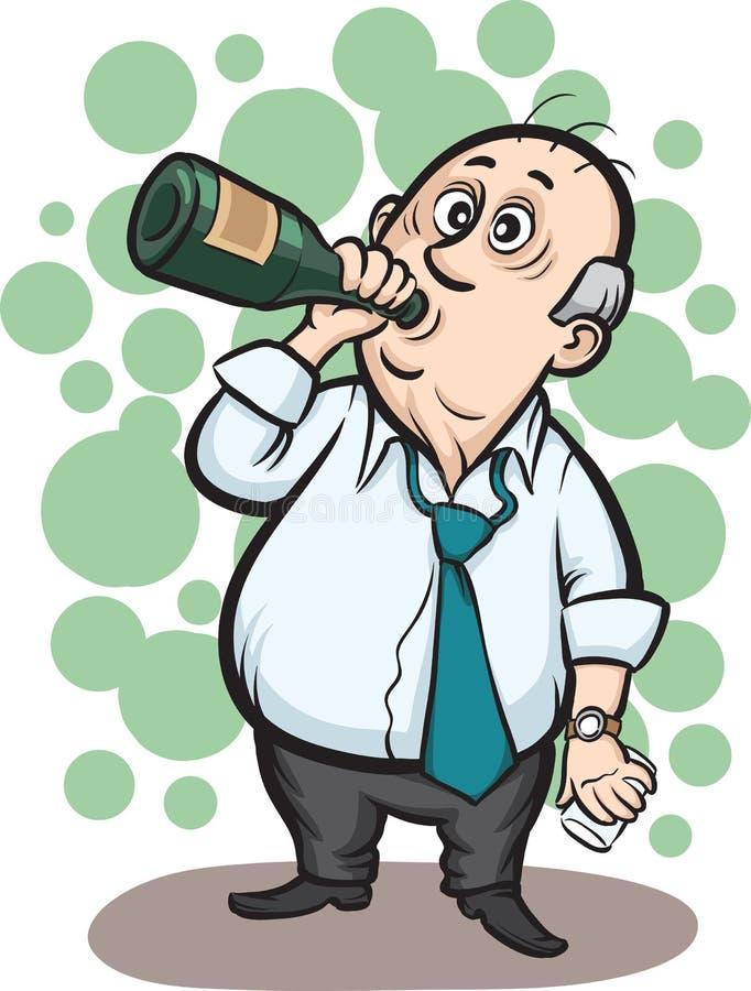 Álcool bebendo do homem de negócios ilustração stock