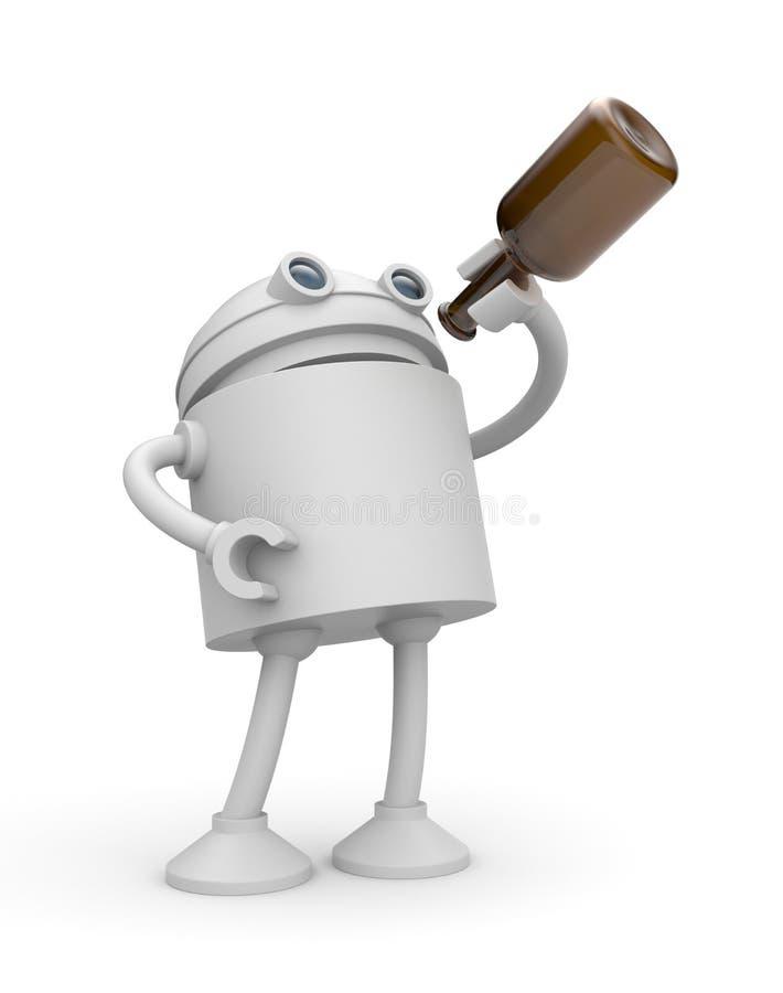 Álcool da bebida do robô ilustração do vetor