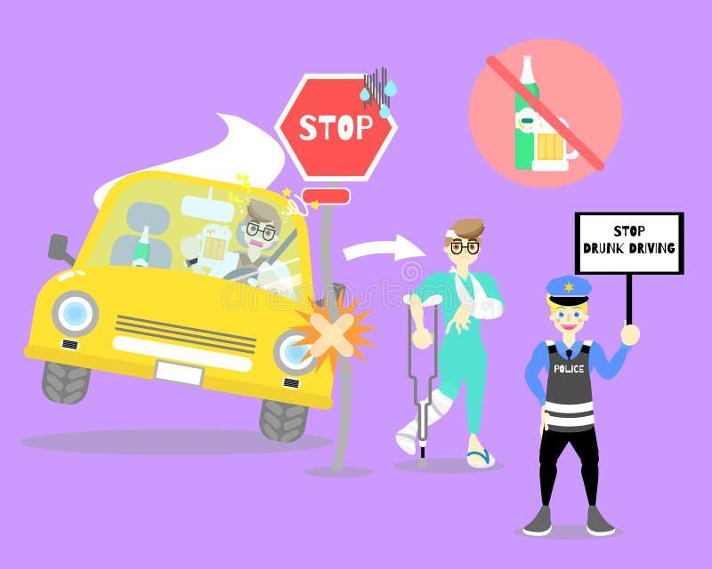 Álcool de condução e bebendo do homem, carro do impacto com sinal da parada, osso quebrado paciente, polícia que mantém a parada  ilustração royalty free