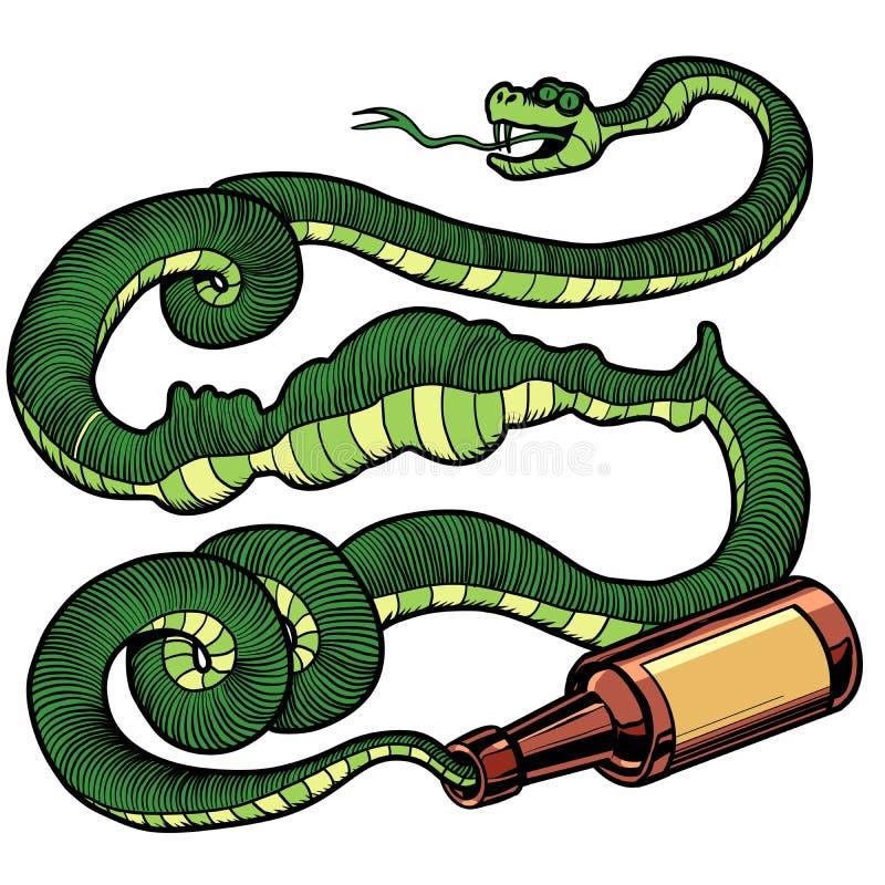 Álcool que bebe a serpente verde ilustração royalty free