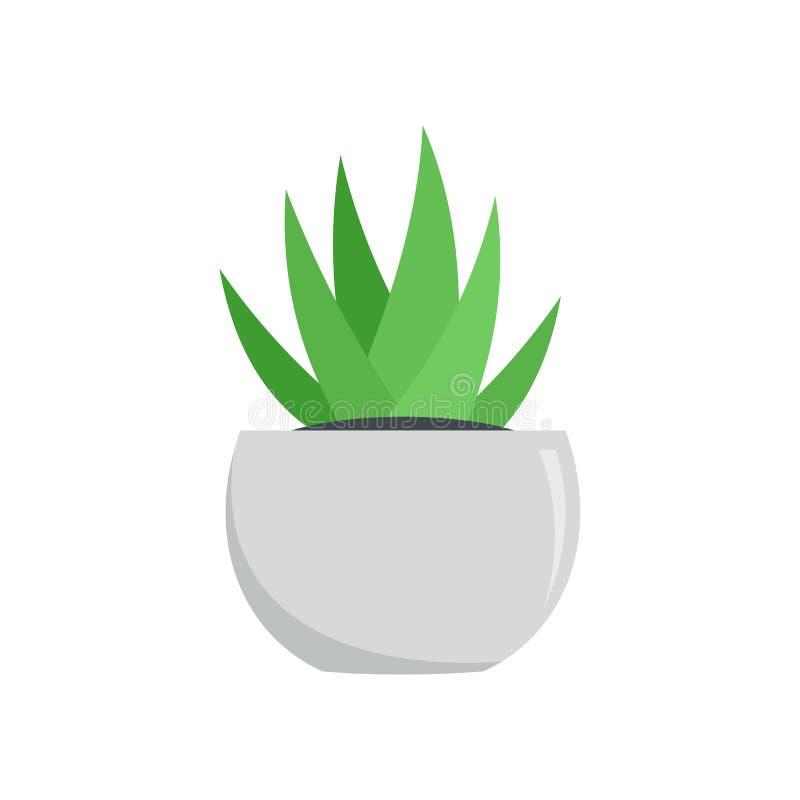 Áloe en el icono blanco del pote, estilo plano ilustración del vector