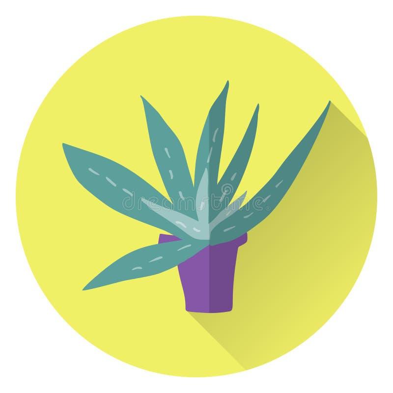 Áloe plano Vera del vector en pote en fondo amarillo libre illustration