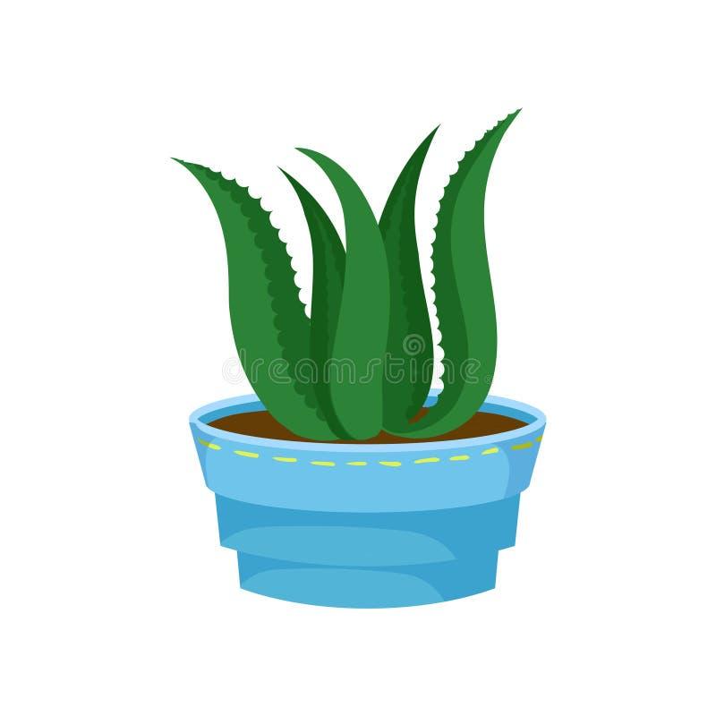 Áloe suculento Vera en un pote, planta casera en un ejemplo del vector de la historieta de la maceta ilustración del vector